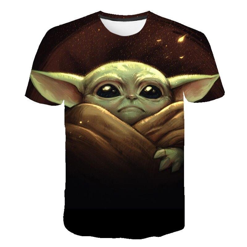 Футболка с 3D принтом мандалор Йоды для мужчин и женщин, Детская футболка с принтом Звездных войн, летняя уличная одежда для мальчиков и дево...