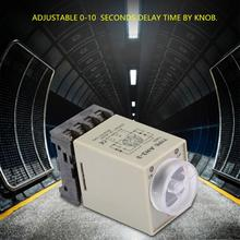 AH3-3 0-10 Seconds Time Relay Knob Control Timer Relay Delay power ON Timing Relay with Base AC 110V 1s ah3 3 power on delay timer time relay 24vac plastic housing 8 pin