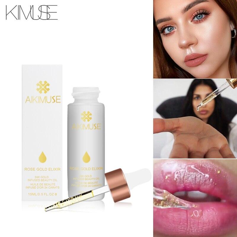 KIMUSE ROSE GOLD ELIXIR  Essential Oil Makeup Primer Lips Face Base Make Up Vitamin Moisturizer Easy To Absorb Face Care