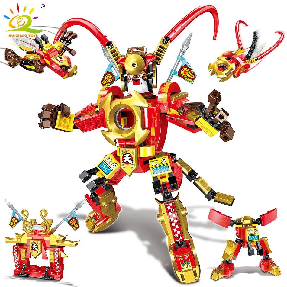 HUIQIBAO – blocs de construction Mecha Sun Wukong, 298 pièces, Robot Monkied City, Super roi singe, figurines de chasse, briques, jouets pour enfants
