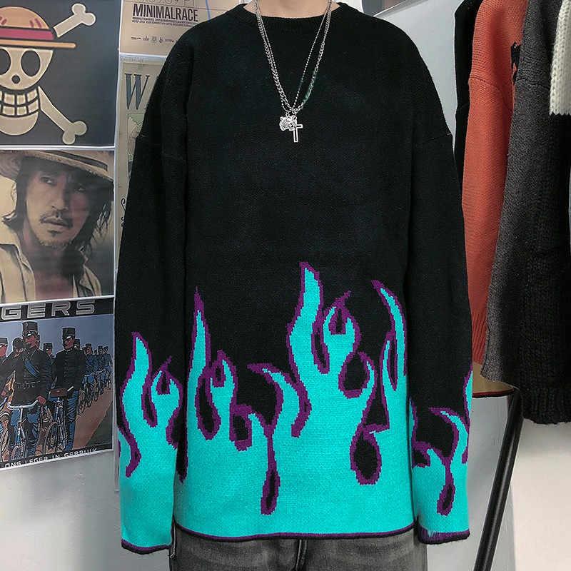 Woherb Jersey de punto de gran tamaño de mujer hombre pareja Otoño Invierno estampado de llama jerseys prendas de hip-hop Harajuku Pull Jumper