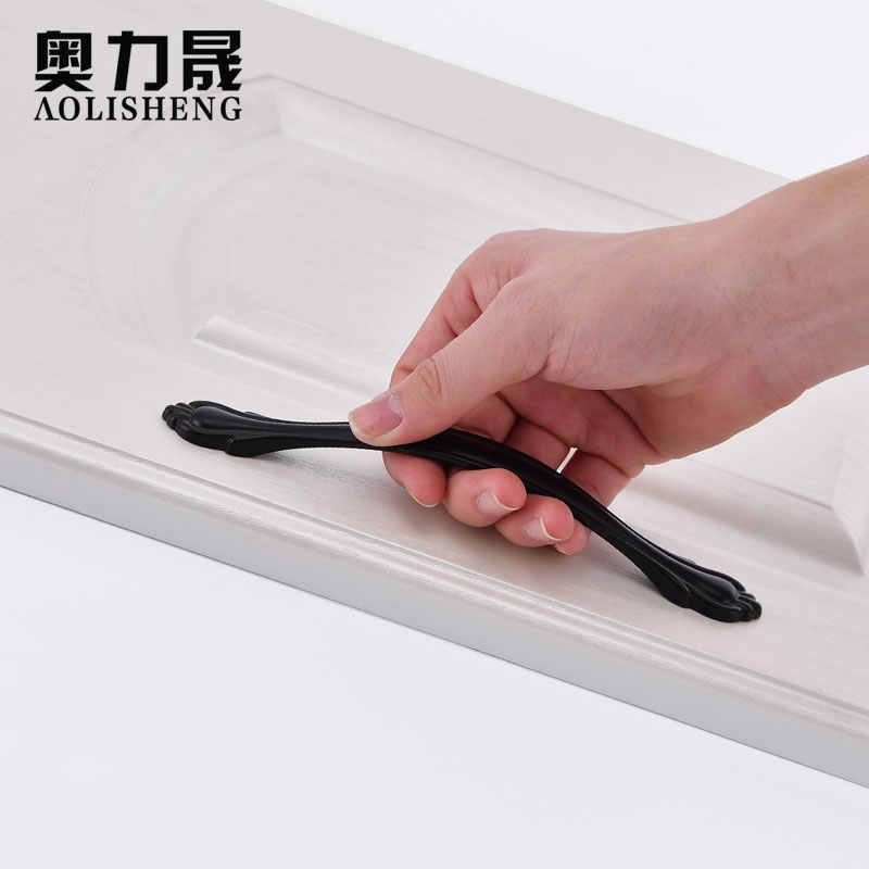 Perillas de cajón de aleación de Zinc negro manijas de Hardware muebles armario puerta-tiradores de cocina Negro estilo americano