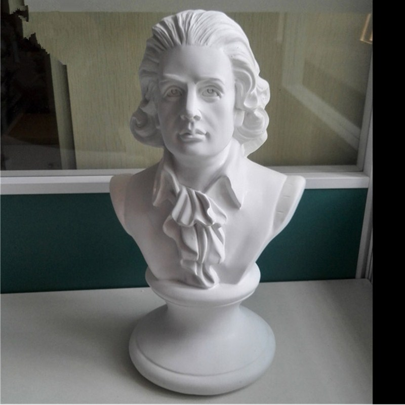 ZHZX Mozart B/üste Statue f/ür Indoor-Wohnzimmer Arbeitszimmer B/üro 30cm H/öhe Imitation Bronze Retro Resin Skulptur