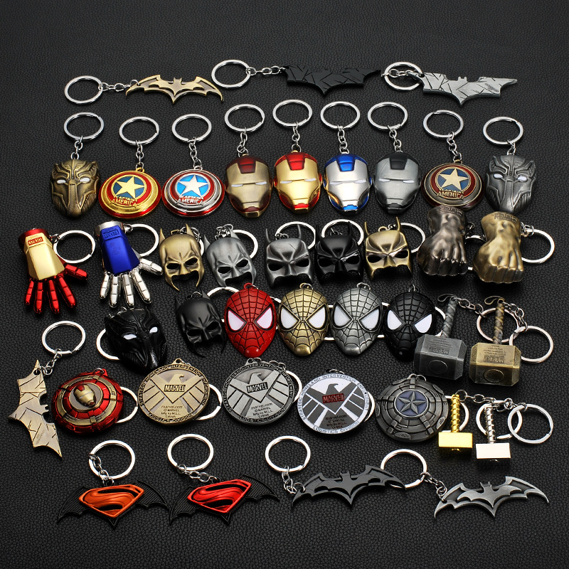 Marvel Key Ring SHIELD Car Keychain Marvel Avengers Endgame Thanos Weapon Iron Man Key Chain For Keys Men Key Cover Cap