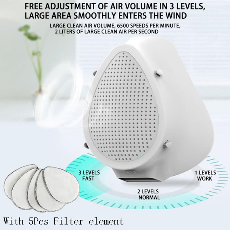 1set Electric Air Purification Mask Protective Mask Adult Dust Mask