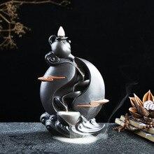 Possessore di Incenso di ceramica Artigianato Fiume di Montagna Viola Argilla Incenso Base Cascata Riflusso Fumo Burner Censer Decorazione Della Casa