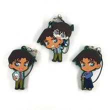 3pcs/lot Detective Conan Anime keychain Jimmy Kudo Kaltou Kiddo Hattori Kazuha Ran Mouri Rubber strap/mobile phone charms D451