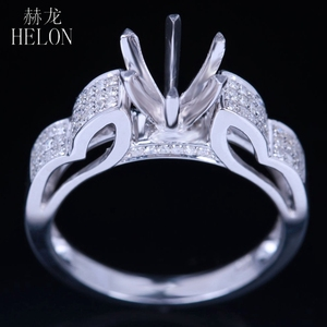 Image 2 - HELON 6mm Round Sterling Silver 925 White Gold Color 0.3CT Natural Diamonds Semi Mount Ring Engagement Classic Fine Jewelry Ring
