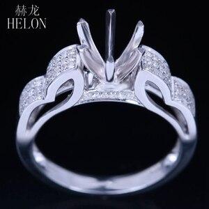 Image 2 - HELON 6mm redondo Plata de Ley 925 oro blanco Color 0,3ct diamantes naturales Semi montaje Anillo Compromiso clásico anillo de joyería fina