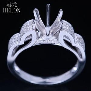 Image 2 - Helon 6mm 라운드 스털링 실버 925 화이트 골드 컬러 0.3ct 천연 다이아몬드 세미 마운트 링 약혼 클래식 파인 쥬얼리 링