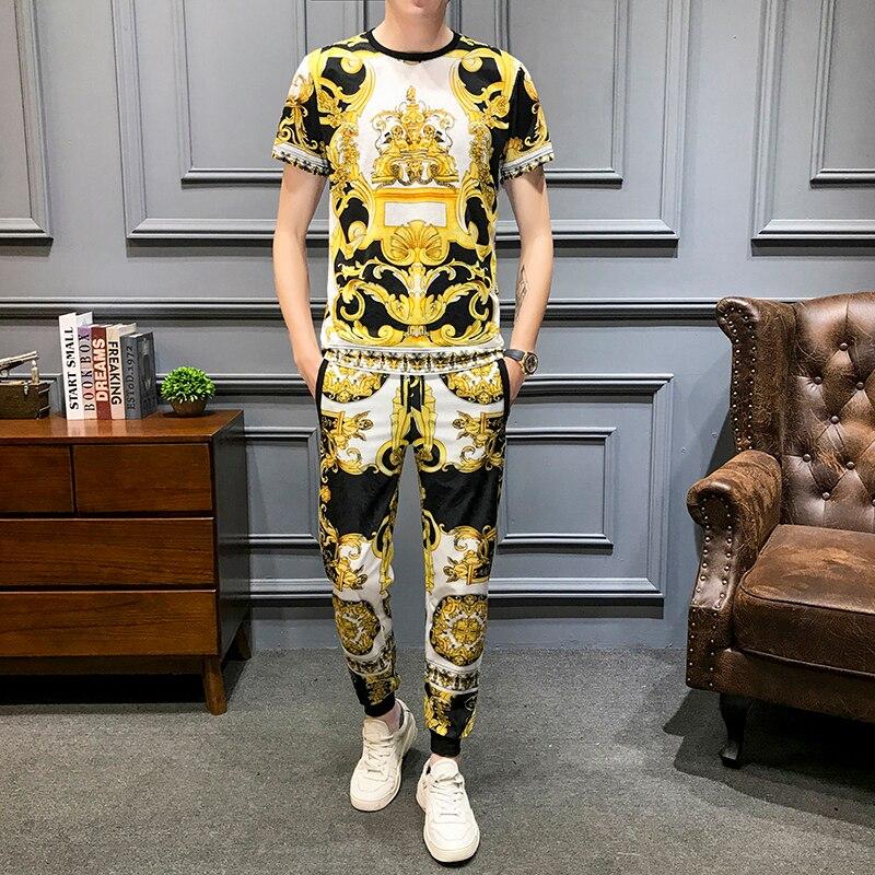 Brand Luxury Retro Print Casual Suits Men 2Pcs Tshirt Sweatpants Summer Men's Sportswear Nightclub Party Social Sets Men Clothes