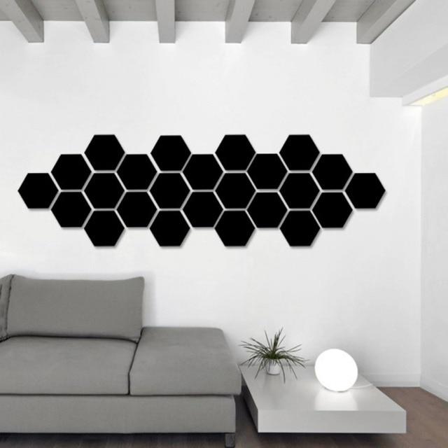 3D Hexagon Acrylic Mirror Wall Stickers DIY Art Wall Decor Stickers Living Room Mirrored Sticker Gold Home Decor 4