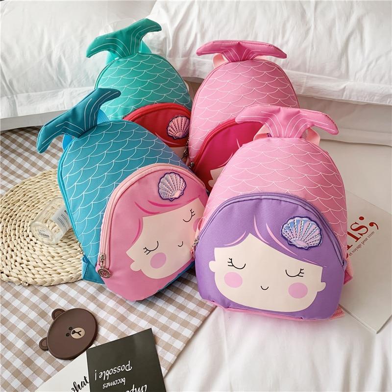 Mermaid Kids Backpack Boy Girls Children Mini  Backpack Cartoon Mermaid Tail Small Shoulder Bag Gift  Animal Schoolbag Backpack