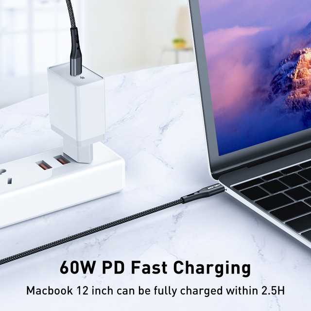 USLION USB C to Type C Cable Fast Charging 60W PD Cable QC 3.0 Quick Charging Mobile Phone Charging Wire USB C Data Cable 6