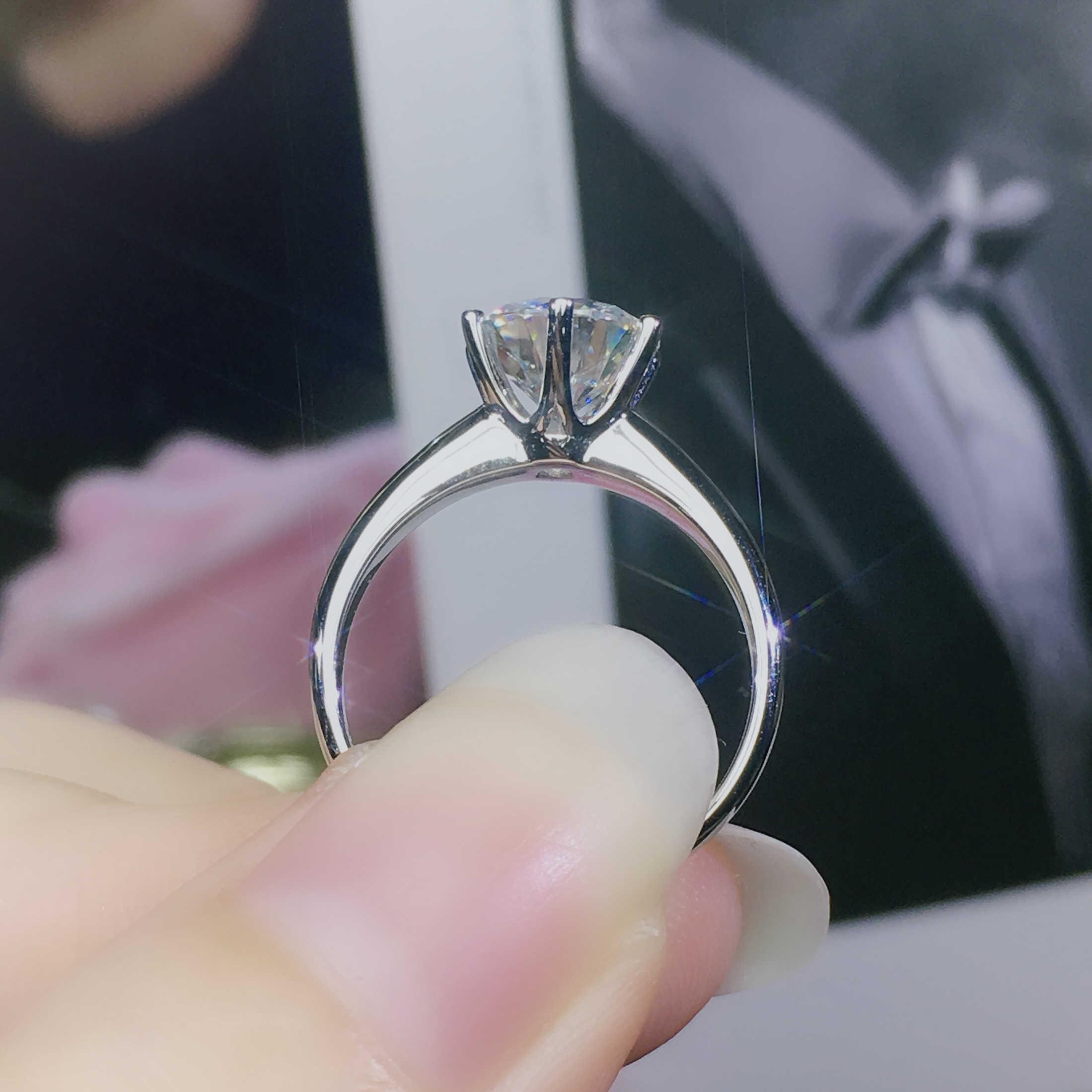 Klassische 925 Sterling Silber Moissanite Ring Einfache stil 1ct carat IJ farbe schmuck Jahrestag Ring