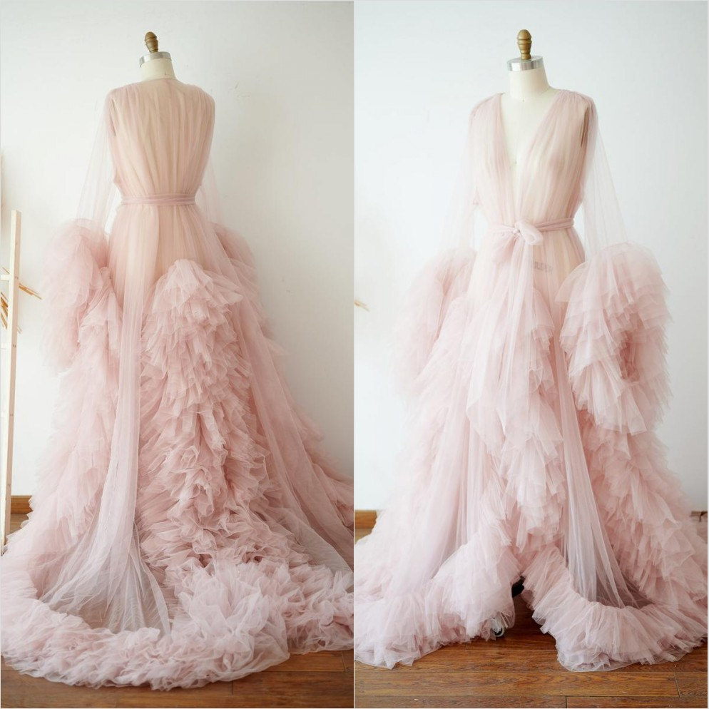 Pink Tulle Maternity Dress Photo Shoot Props Maternity Photography Tulle Gown Kimono Women Tulle Dress Plus Size