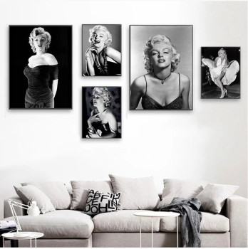 Marilyn Monroe Black & White Pictures Printed on Canvas 3