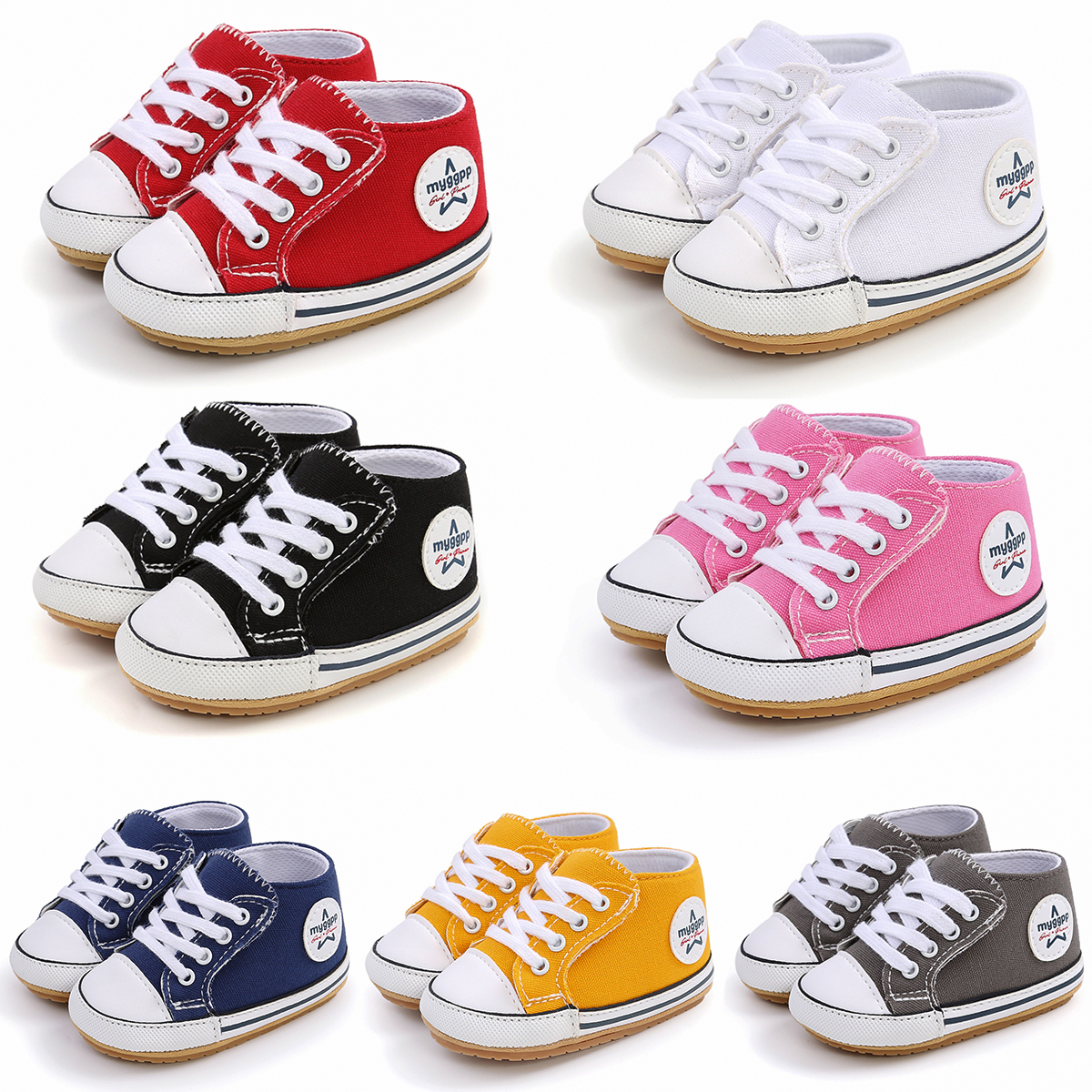 2021 New Classic Baby Canvas Shoes Toddlers Rubber Sole Moccasins Anti-slip Infant First Walkers Boys Girls Newborn Crib Shoes 1