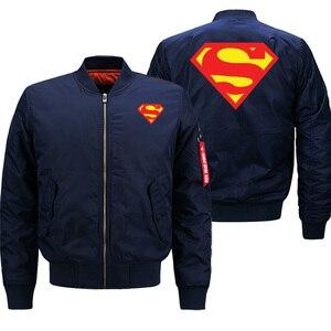 Image 1 - הגעה חדשה 2019 חורף מעילי Mens בייסבול אחיד סופרמן באיכות מזדמן גברים מפציץ מעיל מכירה לוהטת טייס מעיל מותג בגדים