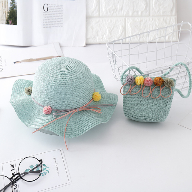 New summer child casual straw hat+ handbags  Kid girls Outdoor holiday panama cap gorros straw bags Sun hat