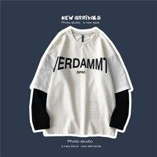 Autumn New Hoodies Men Fashion Contrast Color Letter Printing Casual Sweatshirt Man Hoody Streetwear Loose Hip Hop Hoodie