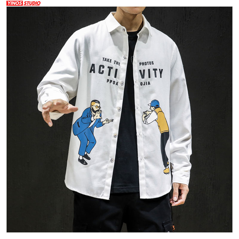 Dropshipping 2020  Japanese Fashion Streetwear Tops Male Causal Autumn Solid Coat Cotton Male Cartoon Pattern Shirts