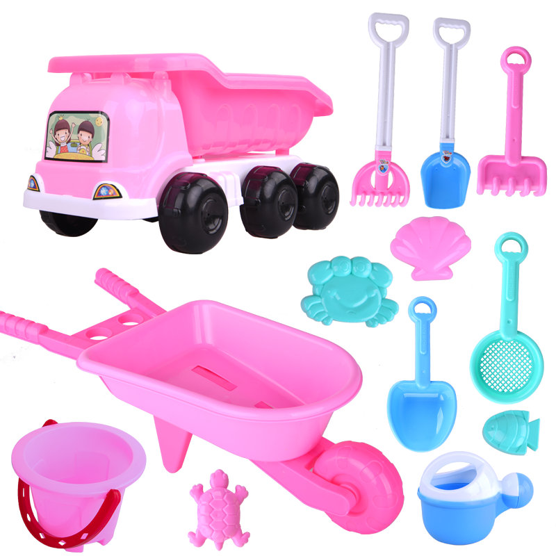 TOYANDONA 4PCs Children Summer Sand Beach Toys Kids Wooden Handle Sand Shovels Toys Summer Party Favors Beach Toys Set for Kids