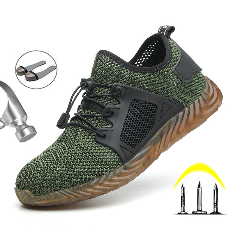 Dropshipping Men And Women Steel Toe Air Safety Boots Indestructible Men Shoes Puncture-Proof Work Sneakers Breathable Shoes