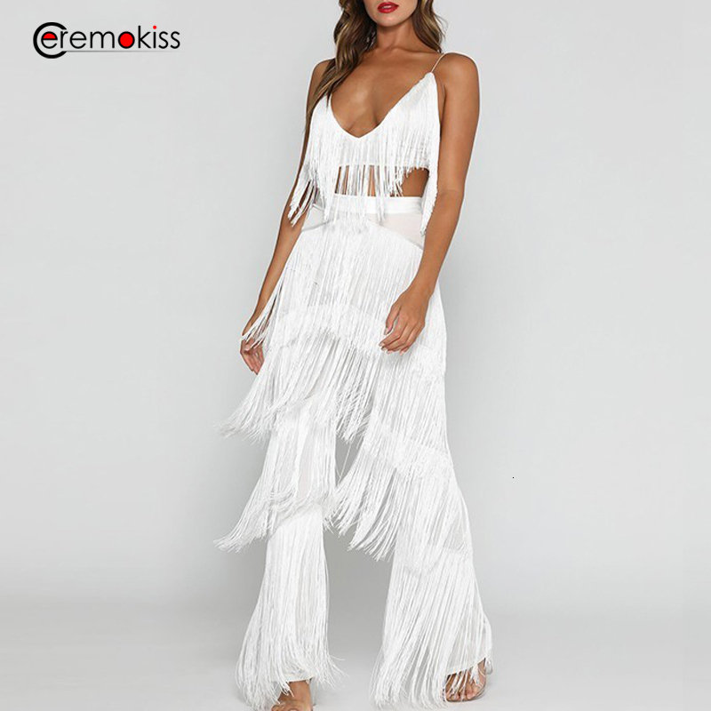 Ceremokiss 2 Piece Sets Women Outfits Summer Sexy V Neck Backless Two Piece Set Casual Sexy White Tassel Crop Top Pants Sets