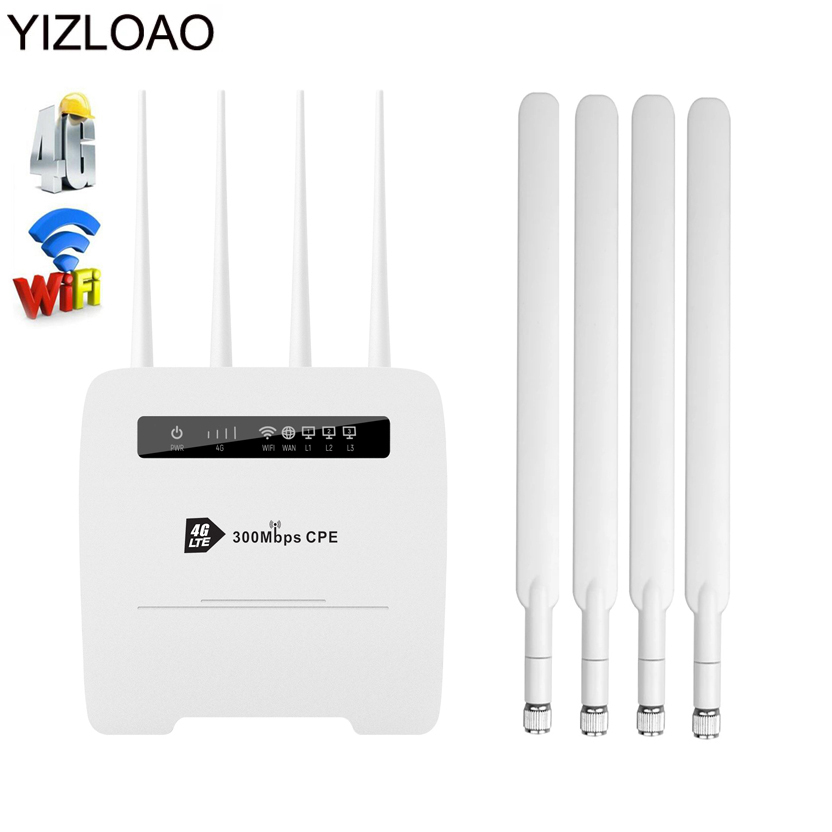 YIZLOAO Wireless CPE 4G Wifi Router Portable Gateway FDD TDD LTE WCDMA GSM Global Unlock External Antennas SIM Card Slot WAN/LAN