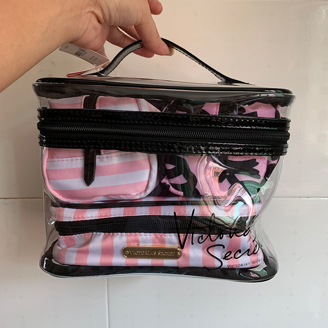 Clear Makeup Case 4 Pcs Transparent PVC Cosmetic Bag Women Pink Travel Toiletry Bag Organizer Beauty Makeup bags Free Shipping 4