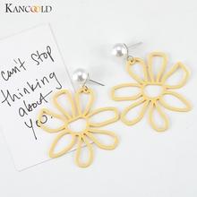 Koreańska osobowość ażurowa stokrotka żółty kwiat drewno perła retro długi odcinek asymetryczne kolczyki podkreślające osobowość kolczyki tanie tanio WOMEN women Earrings earrings for women earrings 2019 earrings set Double Sided Gold Silver Geometric Women Fashion Elegant