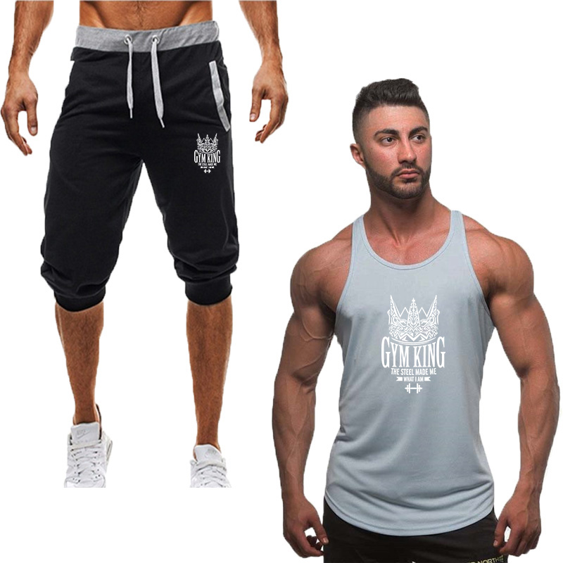 2019 Fashion New Tracksuit Men Two Piece Short Pant+tank Top Summer Cool Sweatshirts Suit Male Chandal Hombre Jogging Homme Suit