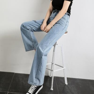 High-waisted Drape Loose Pants Women's Summer Thin Loose Straight CEC Hyuna Celebrity Style Mopping Wind Dad Jeans