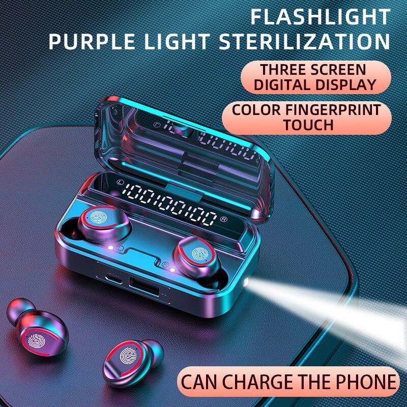 Bluetooth 5,1 Беспроводные наушники с микрофоном, водонепроницаемые спортивные TWS наушники, музыкальные наушники с сенсорным управлением, мини-ф...