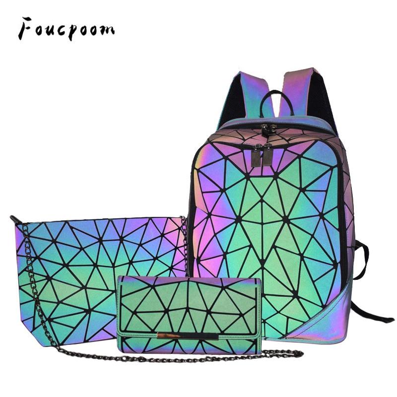 New Luminous Women Backpack 3 Pcs Set Men Laptop Backpacks Student School Bags Holographic Purse Geometry Bagpack Bag Mochila