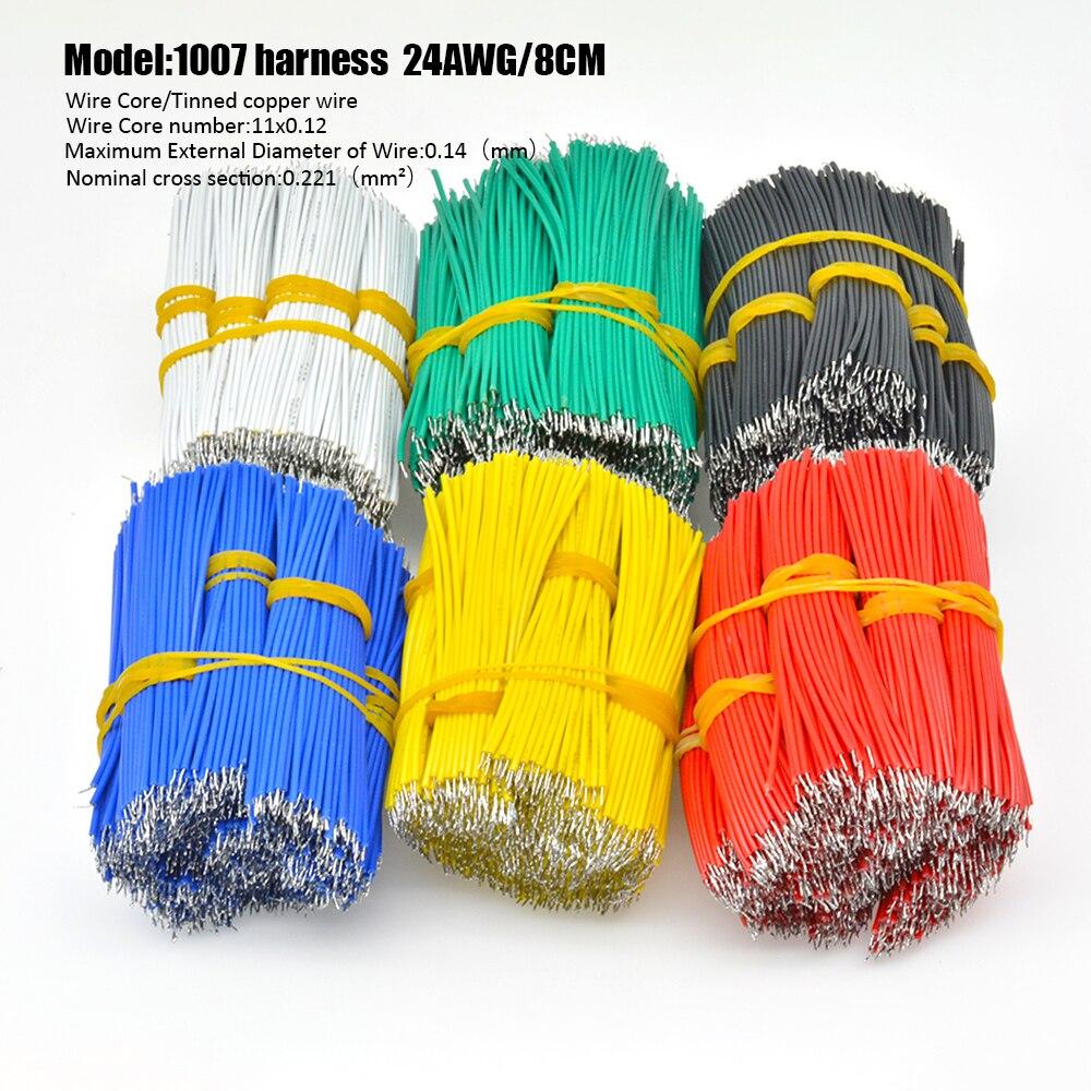 100 piezas UL1007 24AWG Cable puente cables 8CM 10CM Cable electrónico Fly puente Cable PCB soldadura estaño Conductor de cable