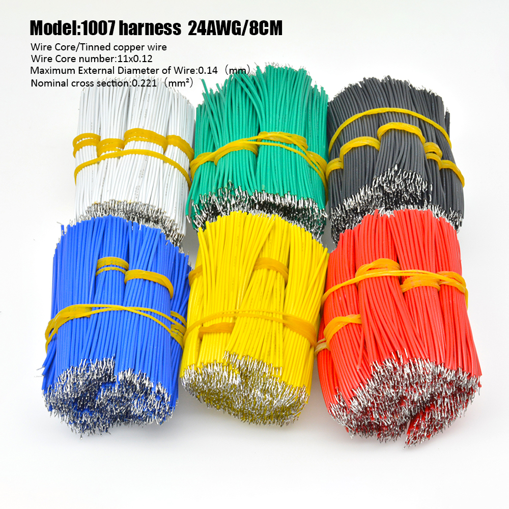 100Pcs <font><b>UL1007</b></font> 24AWG Breadboard Jumper Cable Wires 8CM 10CM Electronic Cable Fly Jumper Wire Cable PCB Solder Tin Conductor Wire image