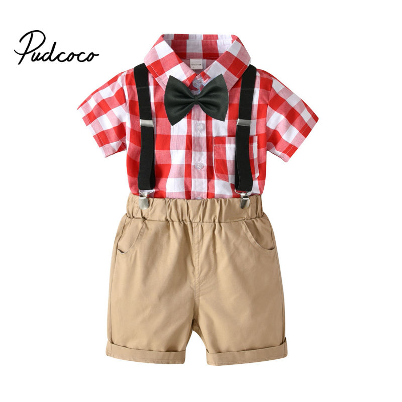 Fashion Baby Overalls Suspender Denim Kids Baby Boys Formal Plaid Bow Shirts + Shorts Jeans Pants Trousers Clothes 1-7 Years 1