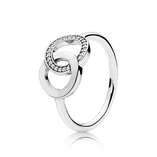 6 Style Women Silver Color Rings Jewelry Logo Signature With Crystal Pan Heart Pendant Ring For Women Jewelry 3