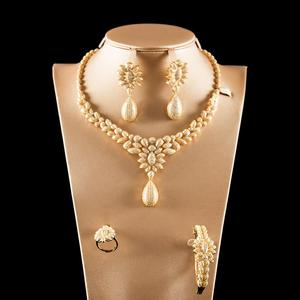Image 1 - Dazz Luxury Colorful Zircon Round Pendant Necklace Earrings Ring Bangle Nigeria Wedding Jewelry Set Bridal Women Dubai Jewellery