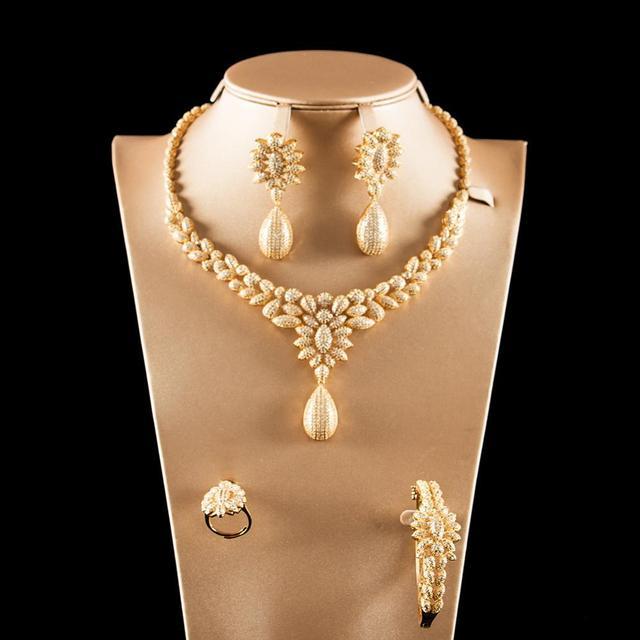 Dazz Luxury Colorful Zircon Round Pendant Necklace Earrings Ring Bangle Nigeria Wedding Jewelry Set Bridal Women Dubai Jewellery