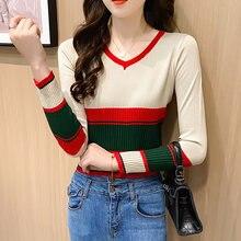 Женский короткий свитер с v образным вырезом shintimes вязаный