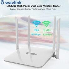 Wavlink Yüksek Güç Çift Bant AC1200 Kablosuz Yönlendirici Wifi Extender 4 * 5dBi Yüksek Kazançlı Antenler Geniş Kapsama WPS Kolay kurulum