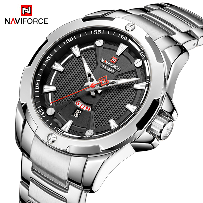 NAVIFORCE Luxury Fashion Silver Watch Men Military Quartz Wristwatch Sport Casual Clock Wateproof Watches Relogio Masculino 2019