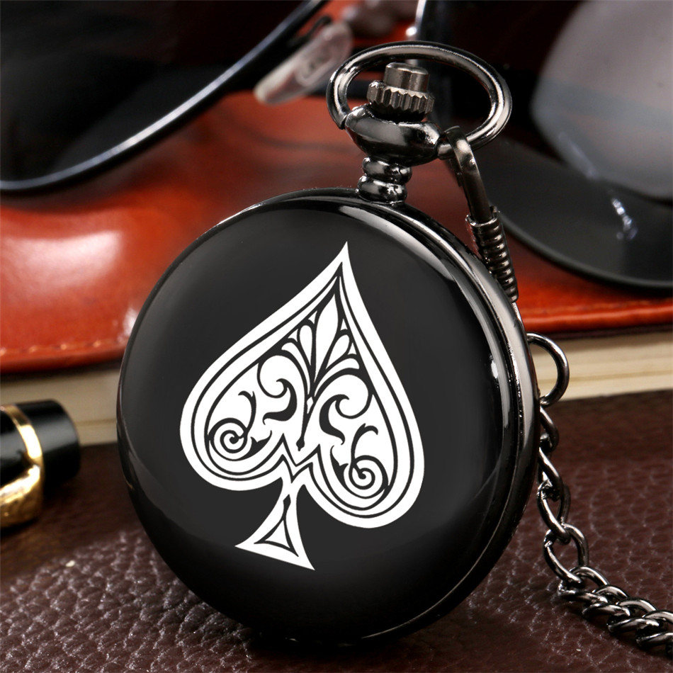 Ace Poker Theme Quartz Pocket Watch Black Smooth Hunter Pendant Watch Pocket Chain Retro Clock Gifts Unisex
