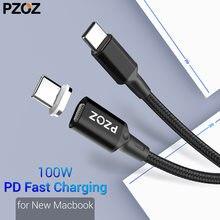 Cabo magnético usb tipo c pzoz, para novo macbook pro huawei matebook 100w pd, carregador de ímã rápido cabos de carregador rápido USB-C