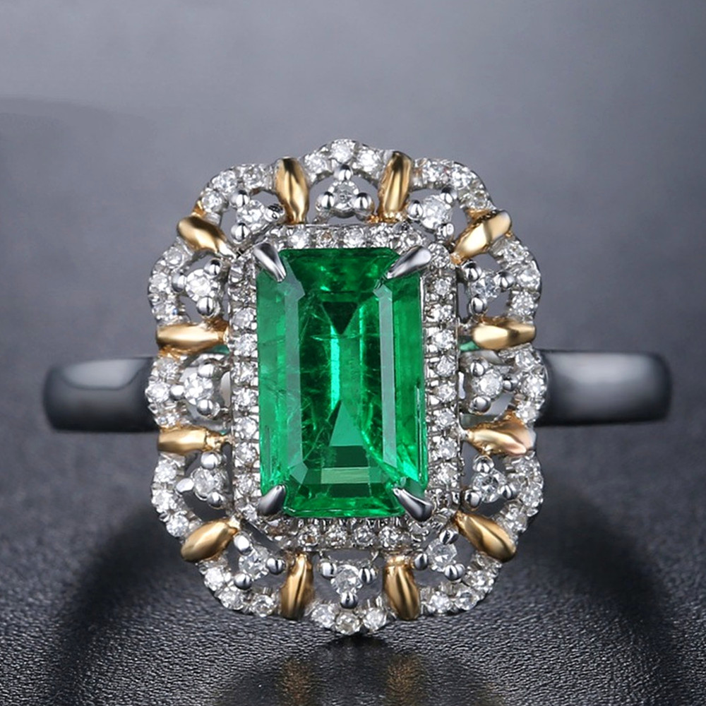 Square Green Emerald gemstones diamond Rings for women 18k white gold silver color argent bague luxury jewelry bijoux gifts