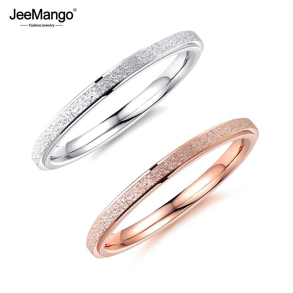 JeeMango Classic Rose Gold Engagement Rings For Women 2mm Width Scrub Stainless Steel Party Finger Ring Christmas Gifts JOGJ581