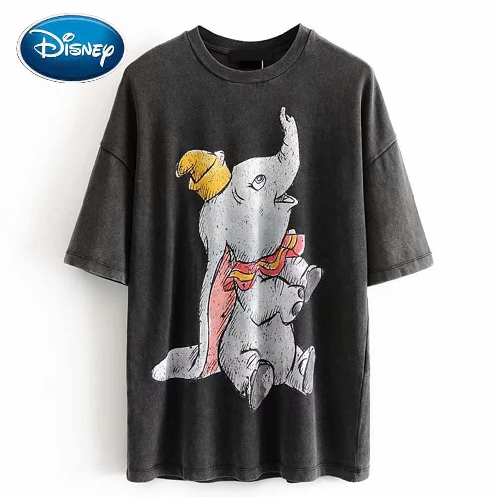 Disney Stylish Dumbo Elephant Cartoon Print Chic Fashion Women O-Neck Pullover Short Sleeve T-Shirt Casual Loose Tee Tops